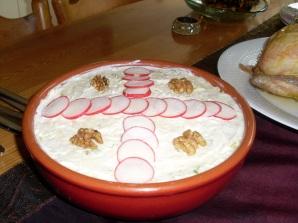 salad Olivieh with radish decoration