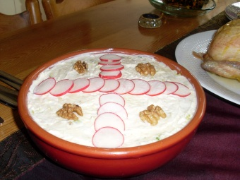 salad Olivieh with radish decoration